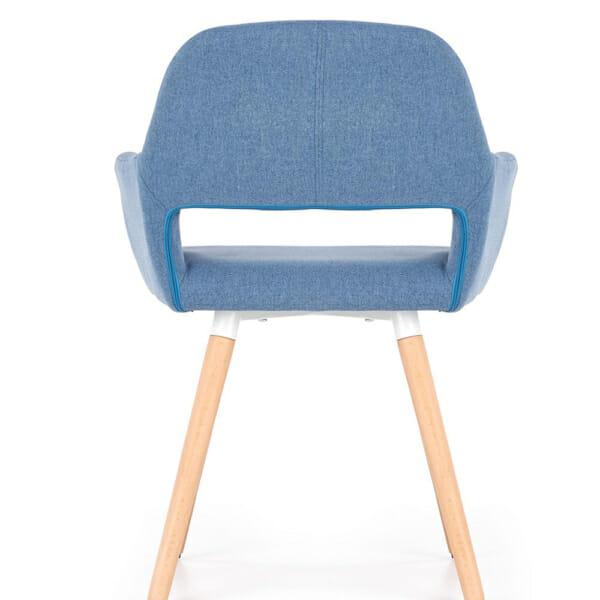 Тапициран стол с подлакътници и дървена основа (3 цвята)-син отпред