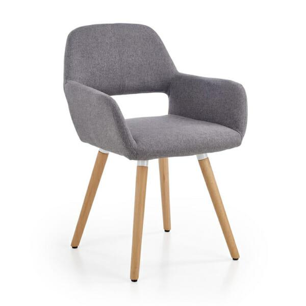 Тапициран стол с подлакътници и дървена основа (3 цвята)-сив