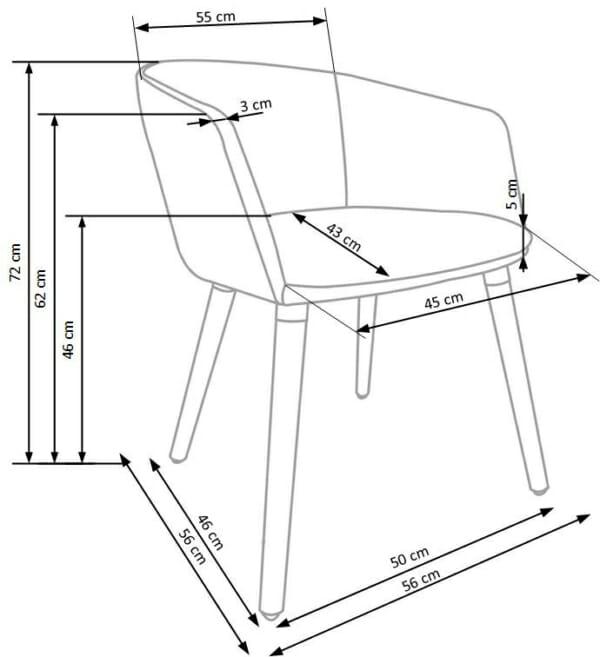 Тапициран стол с подлакътници в скандинавски стил (3 цвята)-схема