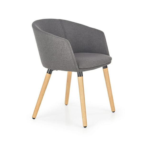 Тапициран стол с подлакътници в скандинавски стил (3 цвята)-тъмносив