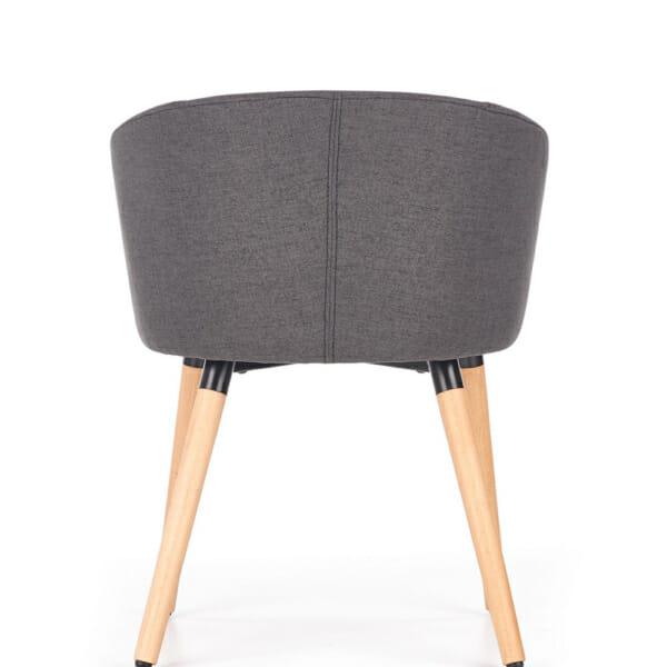 Тапициран стол с подлакътници в скандинавски стил (3 цвята)-тъмносив отзад