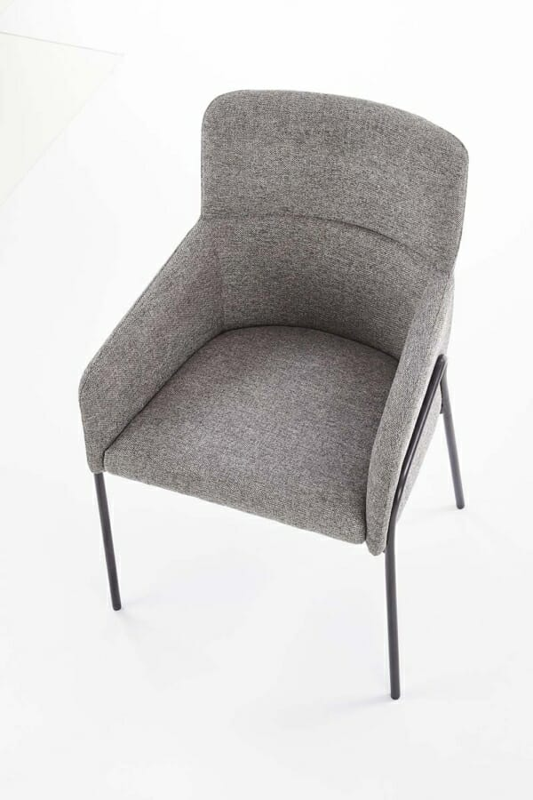 Тапициран трапезен стол с подлакътници в сив цвят-отгоре