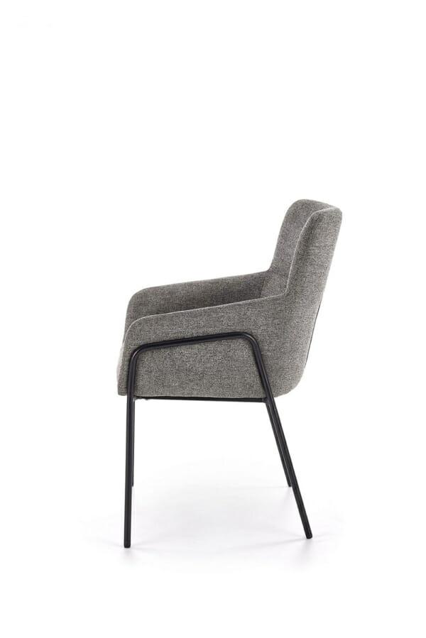 Тапициран трапезен стол с подлакътници в сив цвят-отстрани
