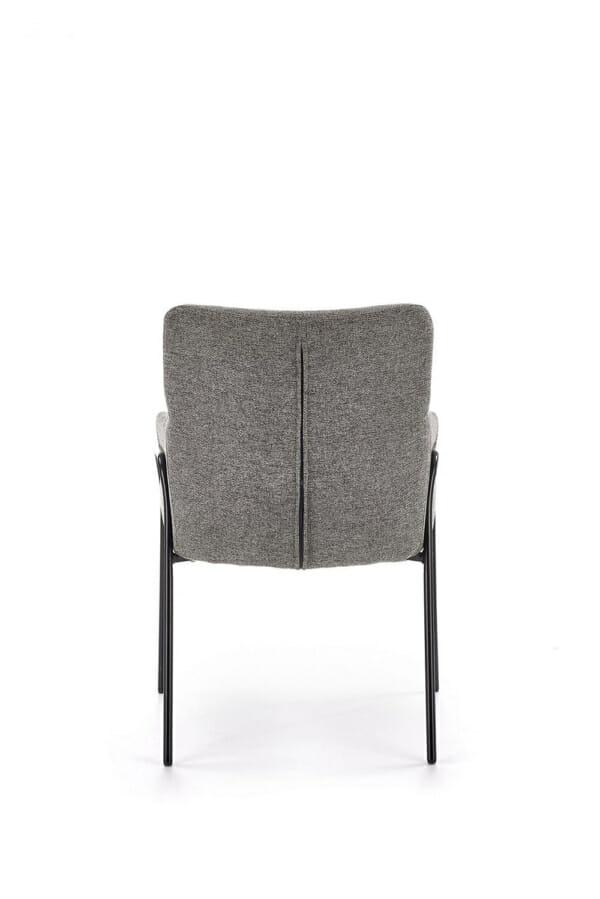 Тапициран трапезен стол с подлакътници в сив цвят-отзад