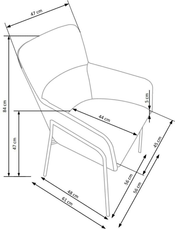 Тапициран трапезен стол с подлакътници в сив цвят-размери