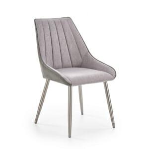 Тапипициран трапезен стол в сиво с метални крака