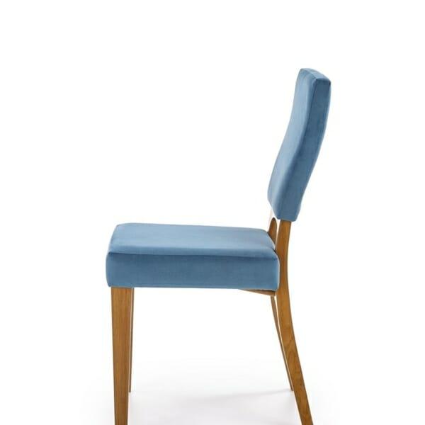 Трапезен стол от дърво с текстилна дамаска - встрани