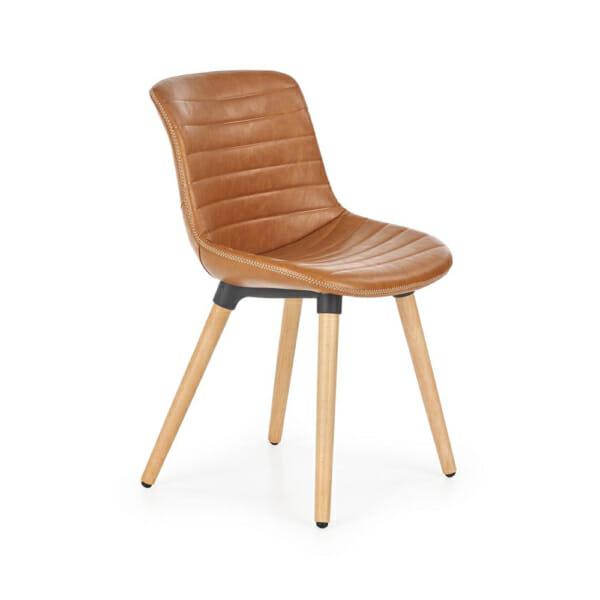 Трапезен стол от еко кожа и масивно дърво (2 цвята)-кафяв
