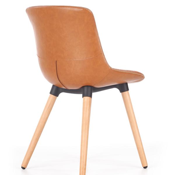Трапезен стол от еко кожа и масивно дърво (2 цвята)-кафяв гръб