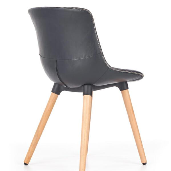 Трапезен стол от еко кожа и масивно дърво (2 цвята)-отзад