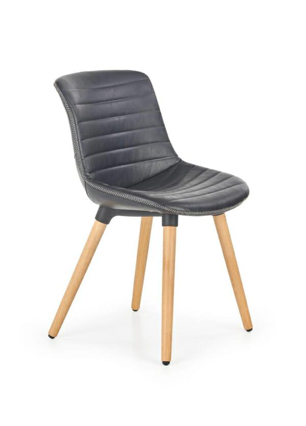 Трапезен стол от еко кожа и масивно дърво (2 цвята)-черен