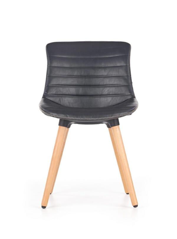 Трапезен стол от еко кожа и масивно дърво (2 цвята)-гръб