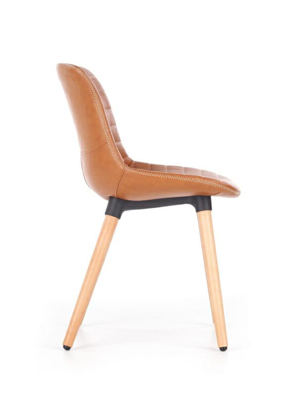 Трапезен стол от еко кожа и масивно дърво (2 цвята)-отстрани