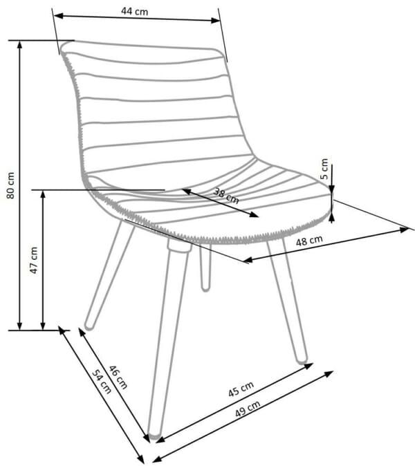 Трапезен стол от еко кожа и масивно дърво (2 цвята)- схема
