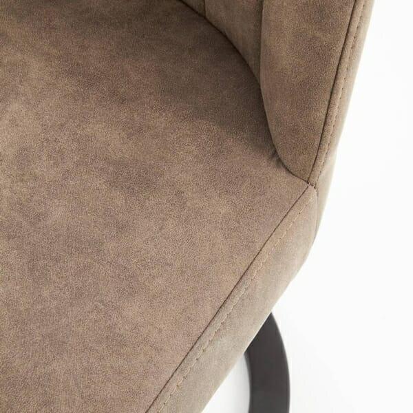 Трапезен стол от еко кожа и метал в кафяво и черно - дамаска