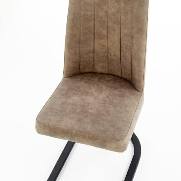 Трапезен стол от еко кожа и метал в кафяво и черно - отгоре