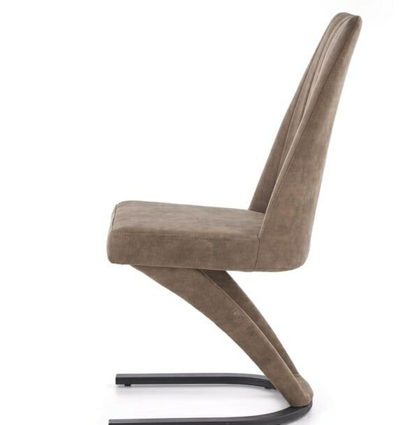 Трапезен стол от еко кожа и метал в кафяво и черно - в профил
