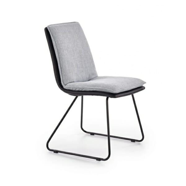Трапезен стол от еко кожа и текстил с метални крака