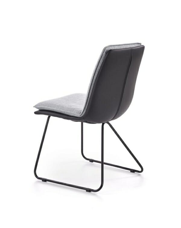 Трапезен стол от еко кожа и текстил с метални крака - диагонал