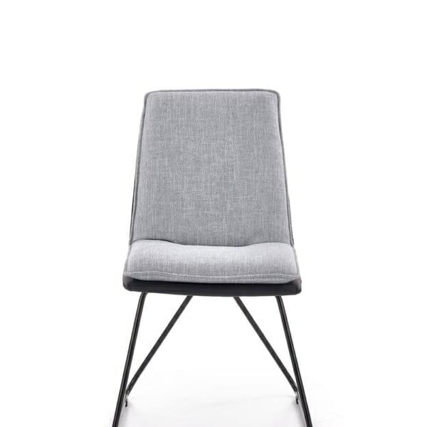 Трапезен стол от еко кожа и текстил с метални крака - отпред