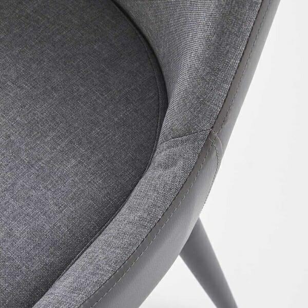Трапезен стол от текстил и еко кожа в сиво и черно-детайл