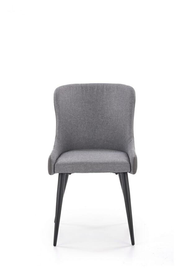 Трапезен стол от текстил и еко кожа в сиво и черно-отпред