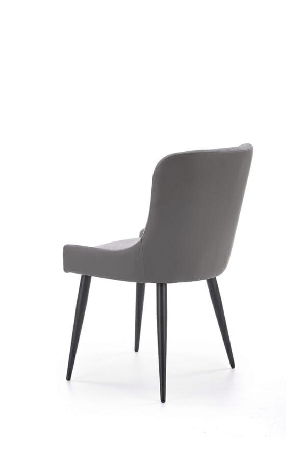 Трапезен стол от текстил и еко кожа в сиво и черно-отзад