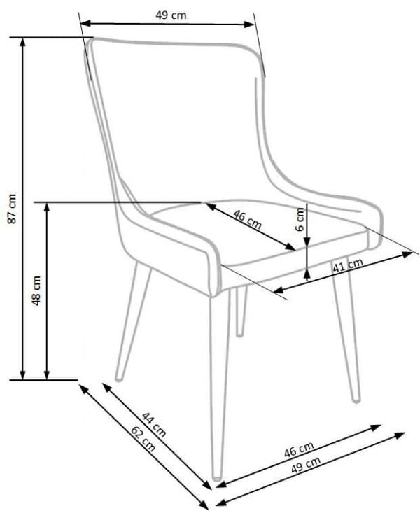 Трапезен стол от текстил и еко кожа в сиво и черно-размери