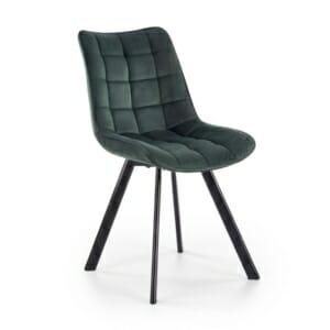 Трапезен стол с дамаска и метални крака (2 цвята) - зелено