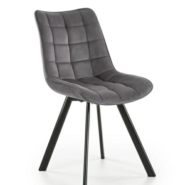 Трапезен стол с дамаска и метални крака (2 варианта) - сиво