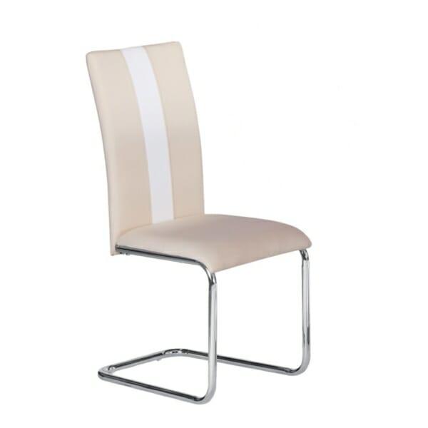 Трапезен стол с метални крака в цвят крем и акцент в бяло