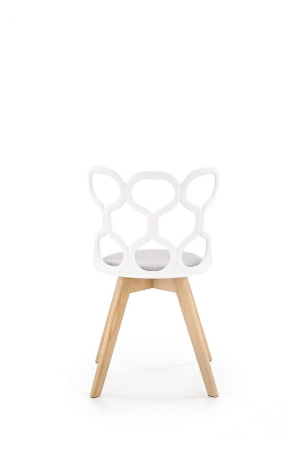 Трапезен стол в бяло и сиво с нестандартна визия-отзад