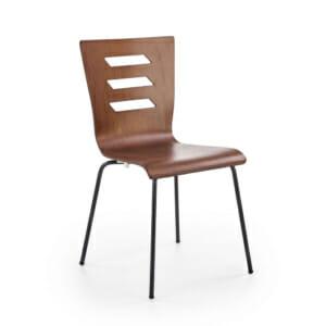 Трапезен стол в цвят орех и черно в индустриален стил