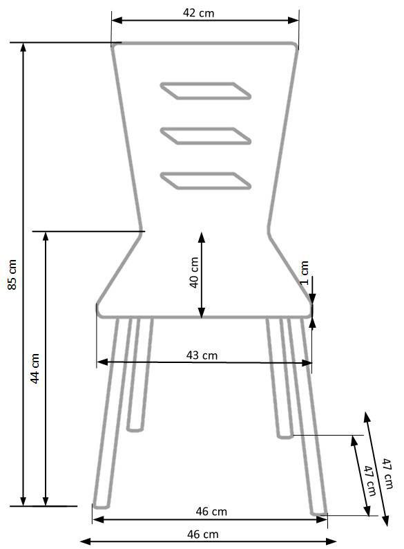 Трапезен стол в цвят орех и черно в индустриален стил-размери