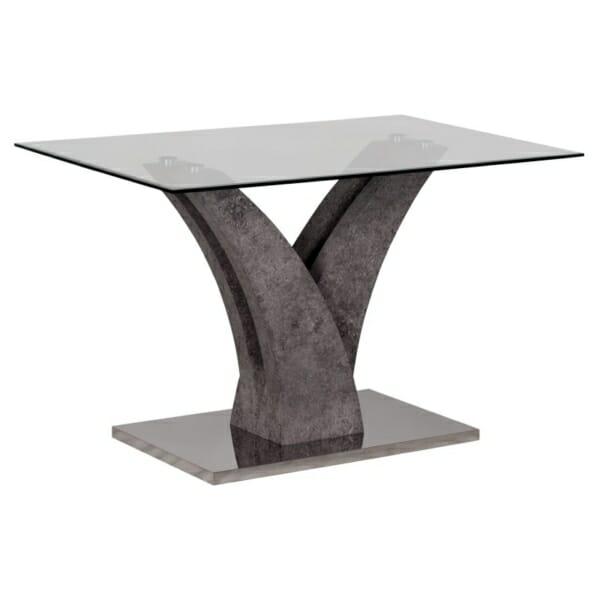 Трапезна маса със стъклен плот и метална основа