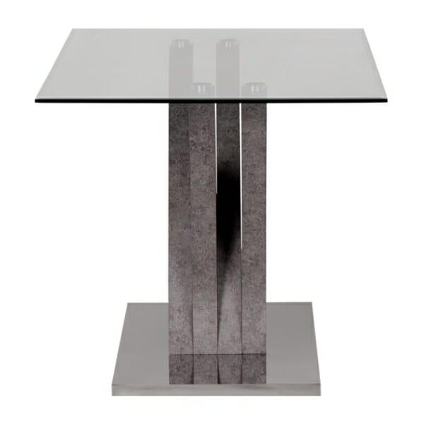 Трапезна маса със стъклен плот и метална основа - странично
