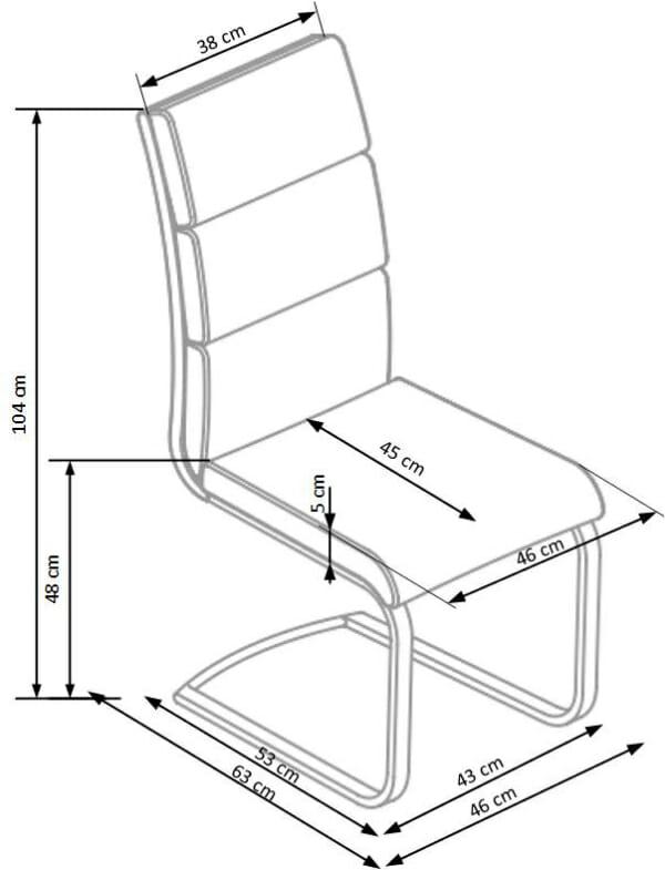 Удобен стол от еко кожа и метал в модерен стил (2 цвята)-схема