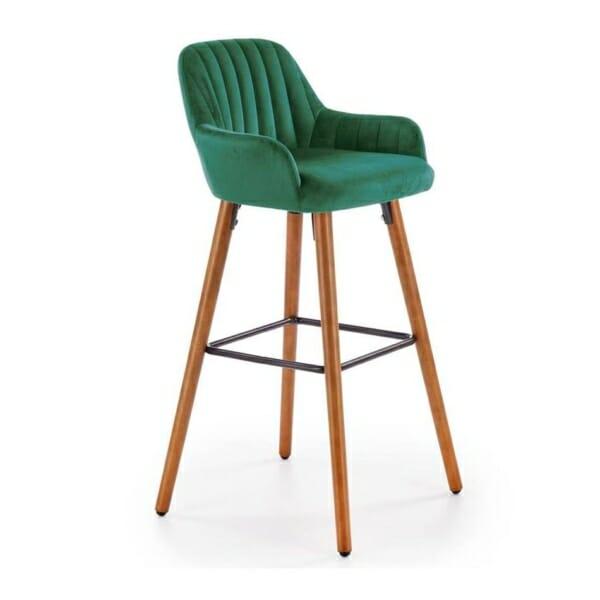 Бар стол от масивно дърво с текстилна дамаска (3 цвята) -тъмнозелен