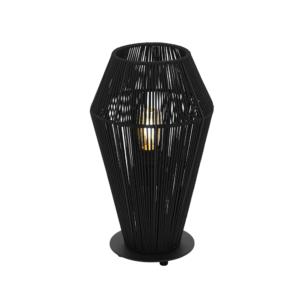 Черна настолна лампа от метал и текстил Palmones