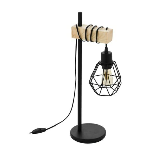 Нощна лампа в черно и кафяво серия Townshend 5
