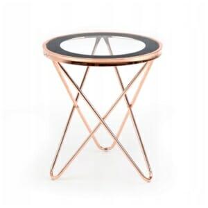 Помощна маса с кръгъл стъклен плот и метални крака