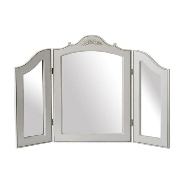 Бяло трикрило огледало с дърворезба серия Retrovo