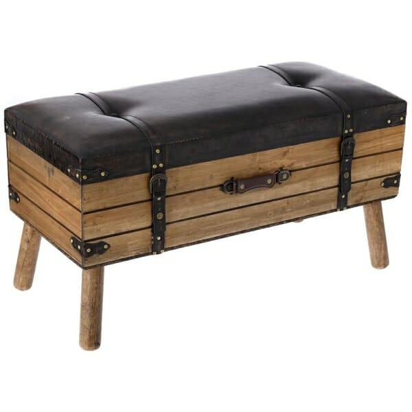 Дървена пейка с място за съхранение имитираща куфар