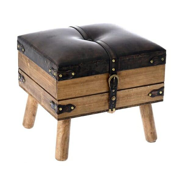 Дървена табуретка с място за съхранение имитираща куфар