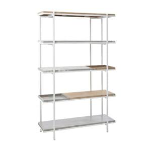 Етажерка с 5 рафта от дърво и метал с декорация серия Prima