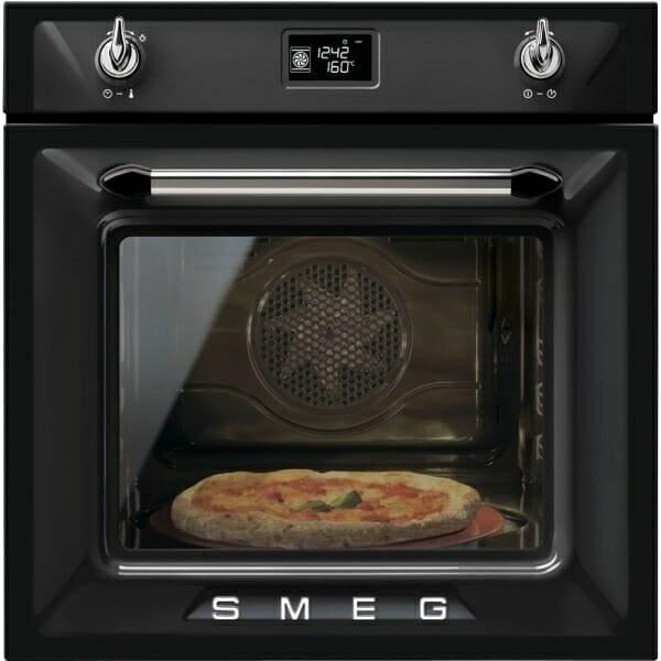Фурна за вграждане с ретро дизайн и LED екран SMEG (4 цвята) - черен