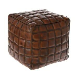 Кафява пуф табуретка от кожа с релеф на квадратчета