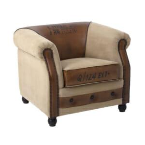 Комфортно двуцветно кресло от кожа и текстил с надписи