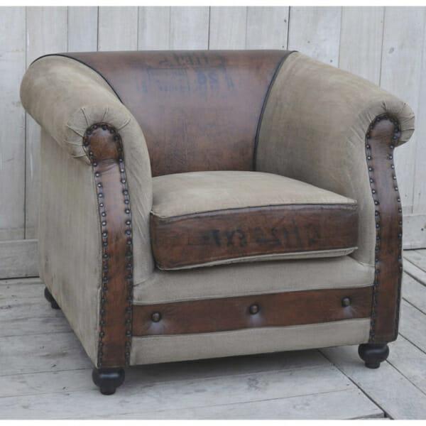 Комфортно двуцветно кресло от кожа и текстил с надписи - декор