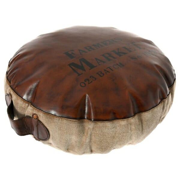 Кръгла пуф табуретка с дръжка във фермерски стил